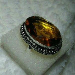 Honey Citrine Quartz 925 Sterling Silver Ring